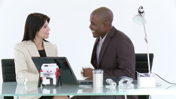 Businessman and woman in a meeting Footage