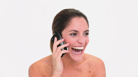 Amused brunette woman making a phone call Footage