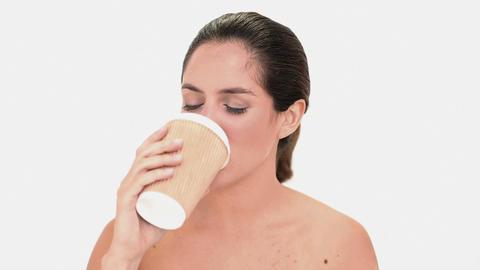 Seductive brunette woman enjoying coffee Footage