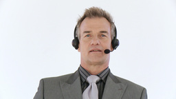 Businessman with headset talking Footage