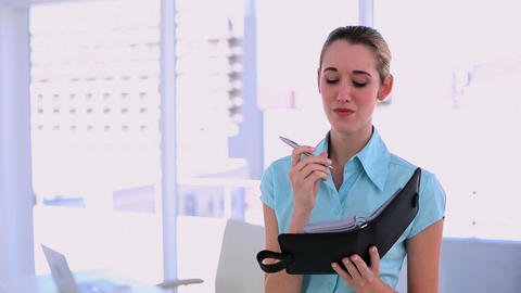 Stylish content businesswoman writing in diary Footage