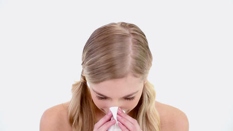 Bare blonde blowing nose Footage
