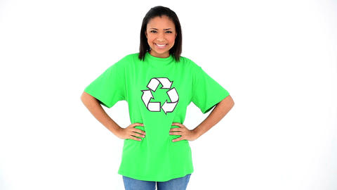 Beautiful young environmental activist posing wear Footage