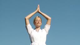 Yoga teacher doing yoga Footage