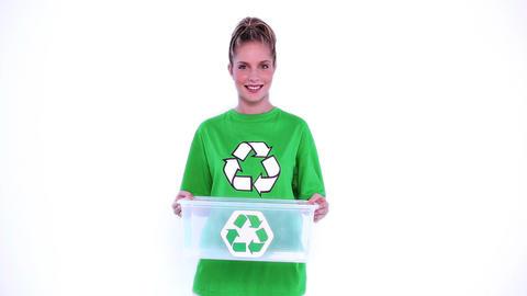 Environmental activist holding plastic box Footage