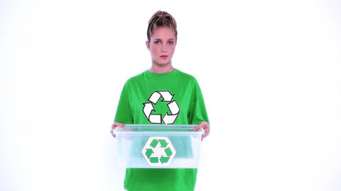 Desperate environmental activist showing a plastic Footage