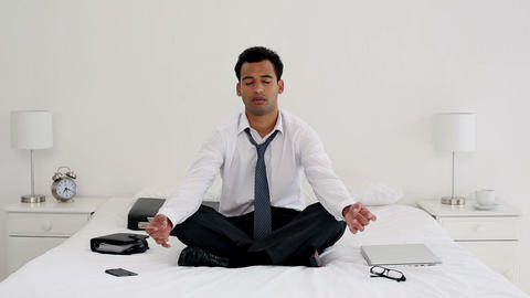 Happy Handsome Businessman Meditating stock footage