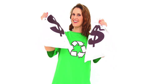 Smiling Environmental Activist Showing Money Bags stock footage