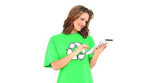 Smiling environmental activist using a digital tab Live Action