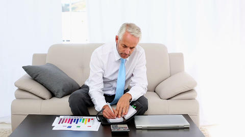 Businessman writing in his diary and smiling at ca Footage