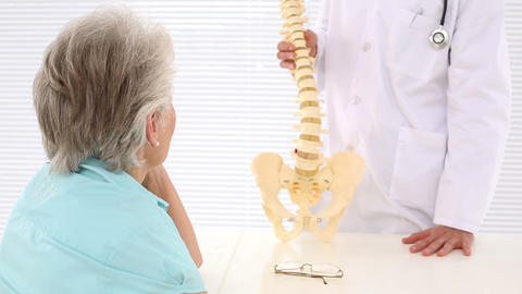 Chiropractor Explaining Spine Model To Patient stock footage
