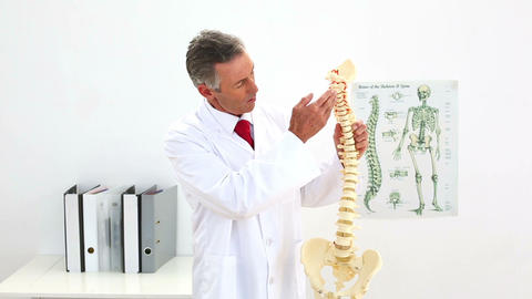 Doctor pointing to skeleton model Footage