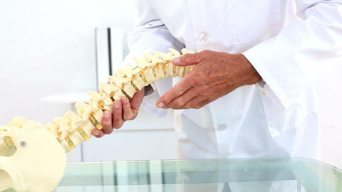 Doctor Explaining Skeleton Spine Model To Camera stock footage