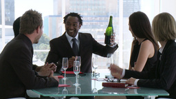 Business team celebrating success with champagne Footage