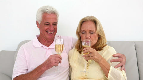 Retired couple drinking white wine on the couch Footage