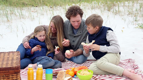 Happy young family having a picnic on the beach Footage