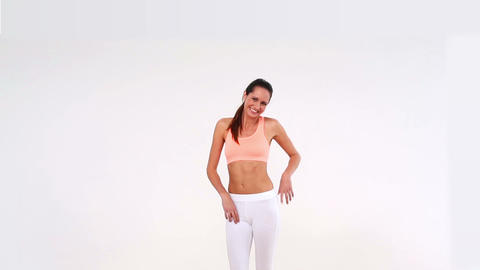 Fit model laughing and smiling at camera Footage