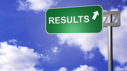 Signpost showing the Results Way Stock Video Footage