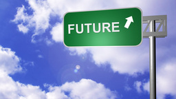 Signpost announcing the Future Way Footage