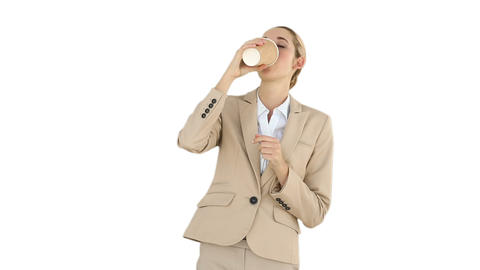 Businesswoman drinking coffee to go Footage