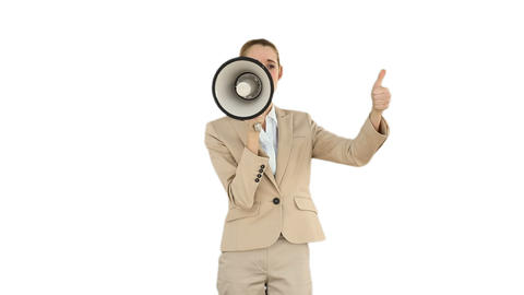 Positive businesswoman shouting through megaphone Footage