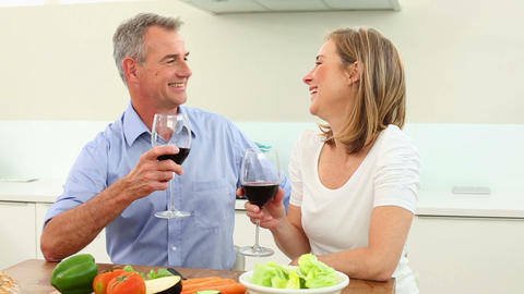 Mature couple drinking red wine together and chatt Footage