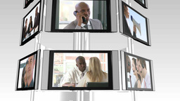Television sceens showing business situations Animation