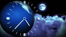 The Earth spinning and a clock running. Concept of Animation