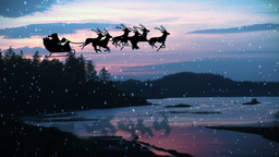 Animation of Santa Claus and reindeer flying over  Animation
