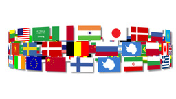 Flags around the world turning Animation