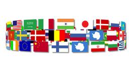 Flags around the world turning Animation