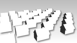 Animation of model houses turning Animation