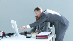 Businessmen working together in office Footage