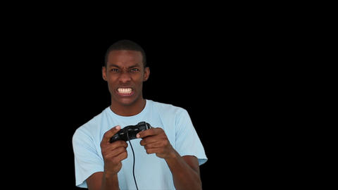 Casual Young Man Playing Video Games stock footage