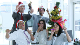 Business team celebrating Christmas in the office Footage