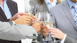 Close up of business team toasting with champagne Footage