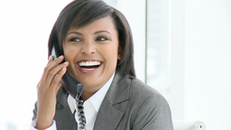 Panorama of attractive businesswoman talking on ph Footage