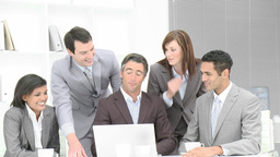 Business team applauding a colleague in office Footage