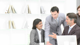 Panorama of business team applauding a colleague i Footage