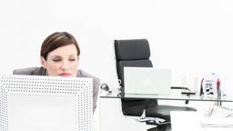 Boss telling off an employee in office Footage