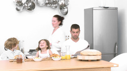 Family at home having Breakfast Footage
