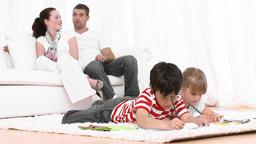 Children at home doing homework Footage
