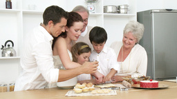 Family baking in the kitchen Footage