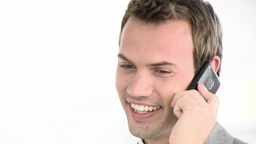 Smiling businessman on phone Footage