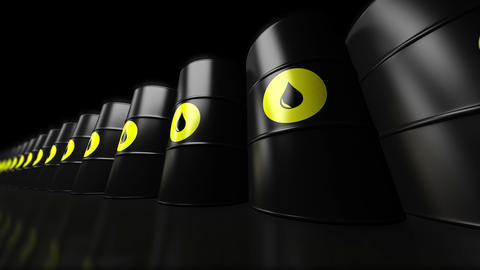 4K. A group of black new oil barrels. Loopable ビデオ