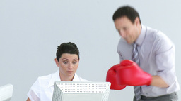 Furious manager wearing gloves talking to a woman Footage