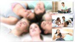 United group of teenagers having fun Footage