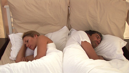 Bored couple sleeping together Footage