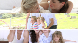 Montage of happy families having fun Animation