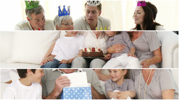 Montage of families celebrating a birthday Animation